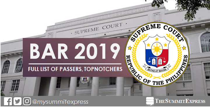 FULL RESULTS: November 2019 Philippine Bar Exam list of passers, top 10