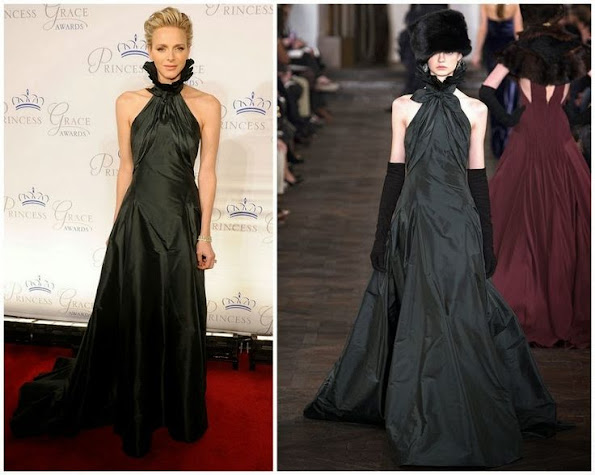 Princess Charlene of Monaco wore Ralph Lauren gown from Fall 2013. Princess Charlene fashion and style