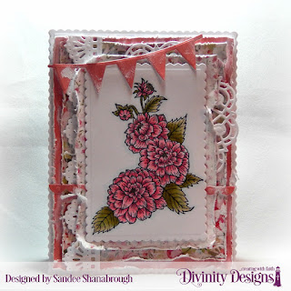 Divinity Designs Stamp Set: Daughter's Best Friend, Custom Dies: Scalloped Rectangles, Doily, Pennant Row, Beautiful Borders, Bitty Borders, Paper Collection: Pretty Pink Peonies