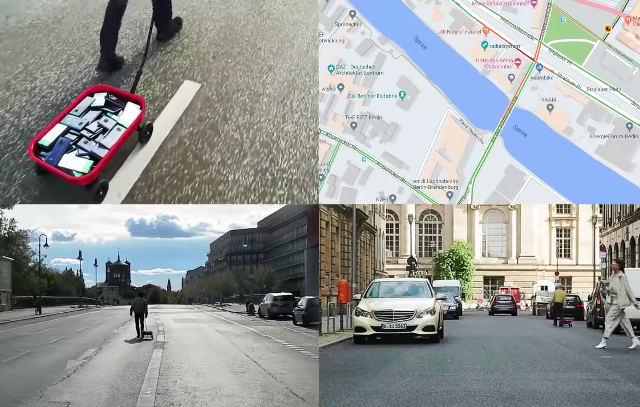 Provoca un atasco virtual en google maps con un carrito y 99 smartphones.