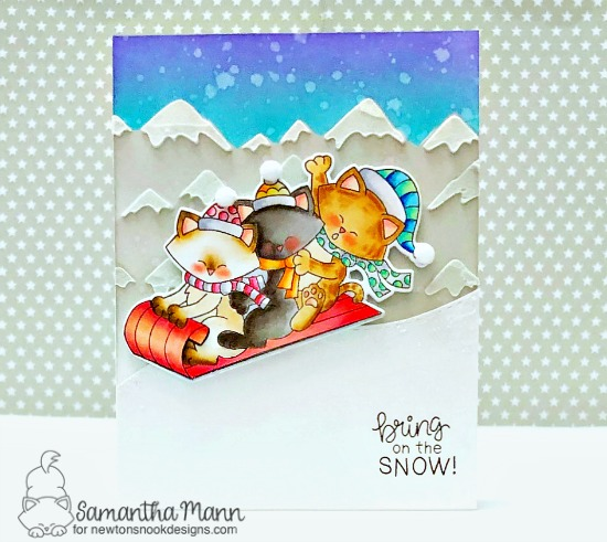 Sledding Kitties card by Samantha Mann | Newton's Toboggan Stamp Set and Mountains Stencil by Newton's Nook Designs #newtonsnook #handmade