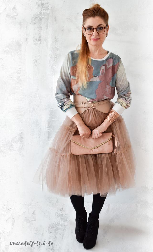 Rosa Tüllrock mit Bambi-Sweater