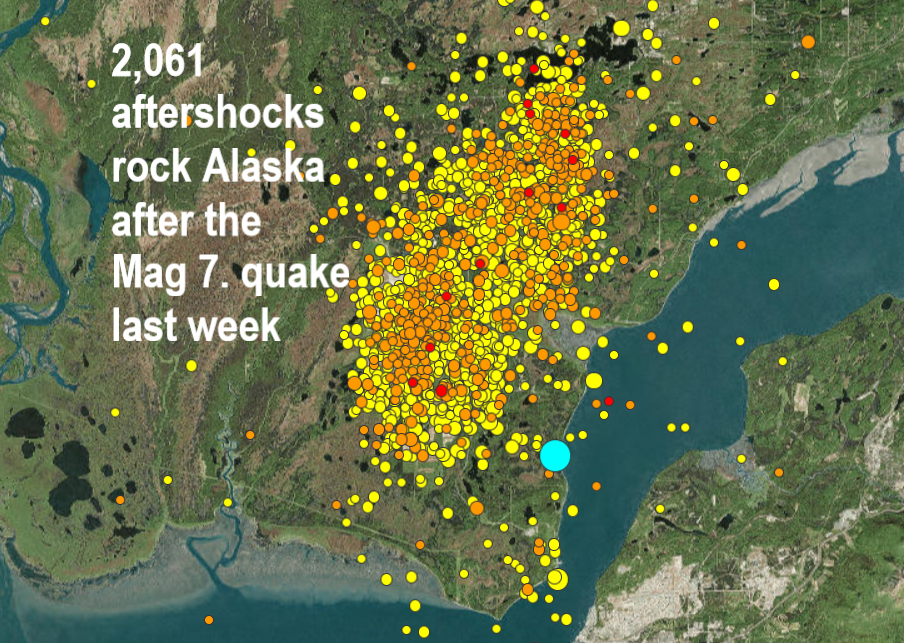 An incredible 2,061 aftershocks have rocked Southcentral Alaska - 24 per hour Naamloos
