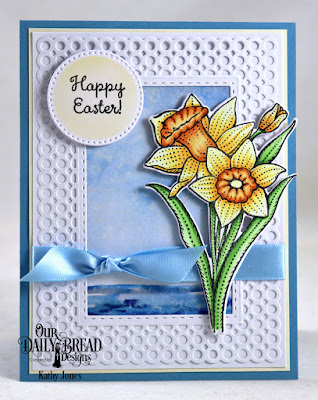 Our Daily Bread Designs Stamp Set: Daffodils, Custom Dies: Daffodil, Circle Scalloped Rectangles, Double Stitched Rectangles, Pierced Circles, Paper Collection:, By The Shore Paper