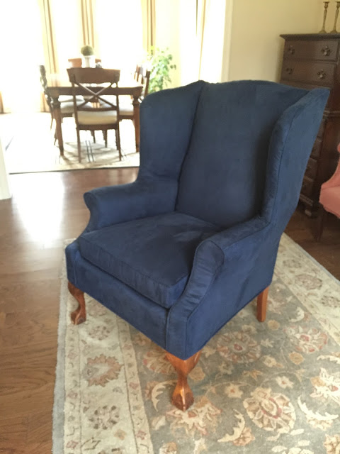 Navy Microsuede On A Vintage Wing Chair.