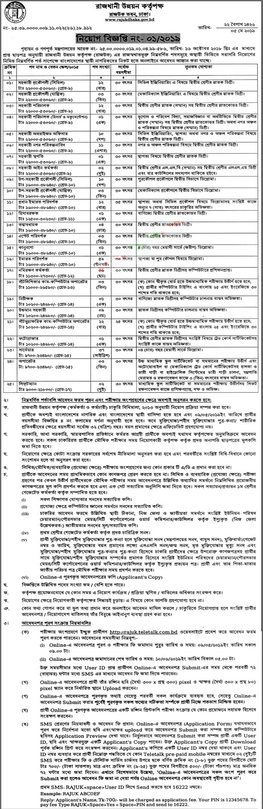 Rajdhani Unnayan Kartripakkha Job Circular 2019