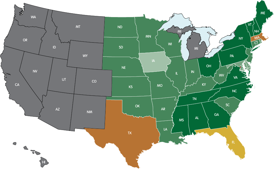 STATES WHERE THE P.O.D. HAS LANDED<br>( IT TAKES THREE CONSECUTIVE NIGHTS TO QUALIFY AS A VISIT )