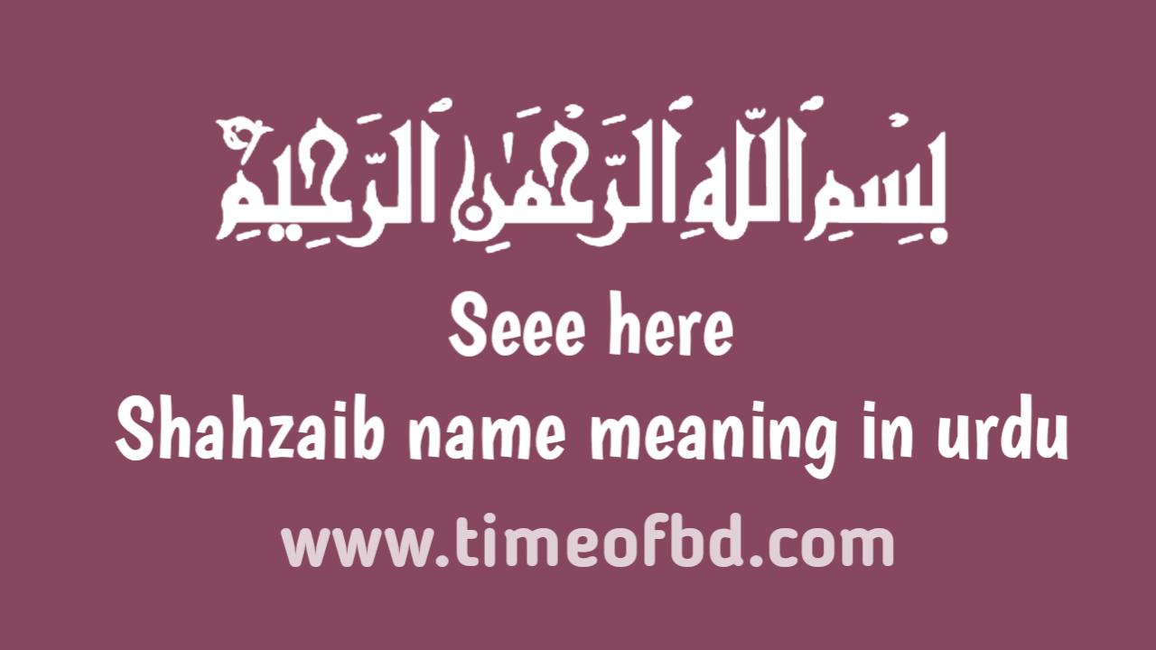Shahzaib name meaning in urdu, شاہ زیب نام کا مطلب اردو میں ہے