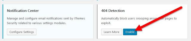botón Activar para el cuadro Detección 404