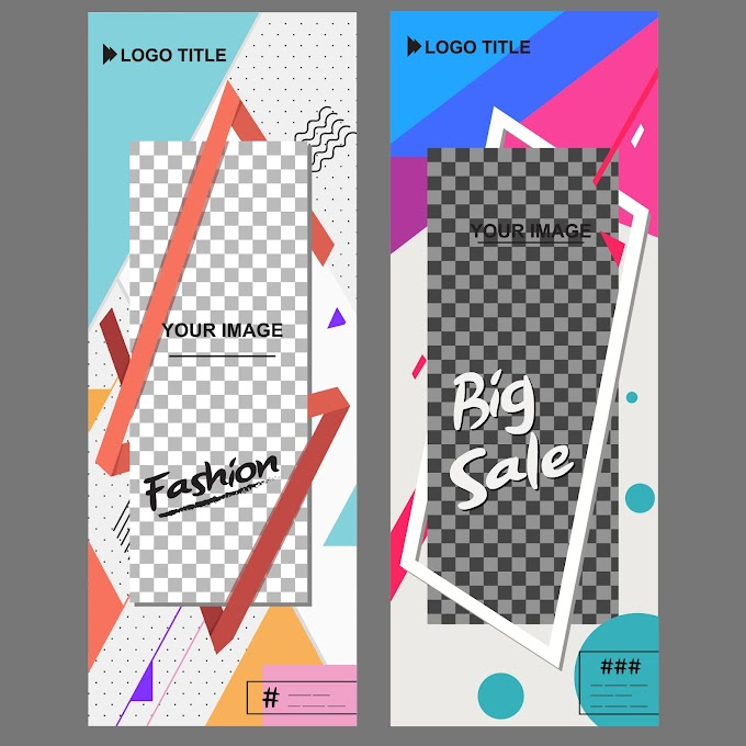 Business Poster templates modern abstract decor standee vertical shape Free vector