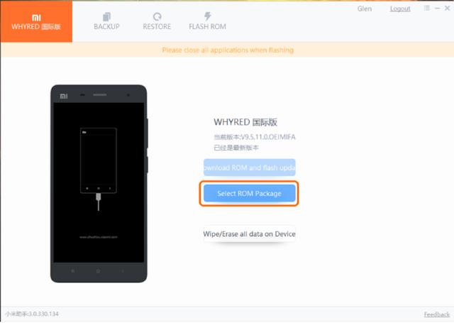 Klik Select Package ROM Untuk Melakukan Flash Mengatasi Bootloop Xiaomi