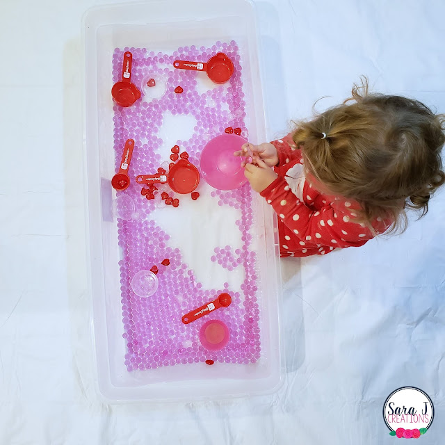 Valentine's Day water bead sensory bin