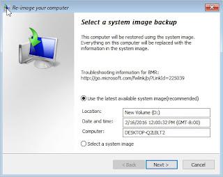 select a system image backup