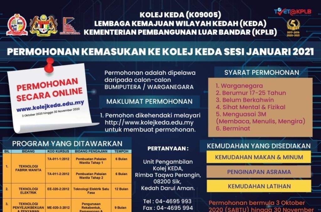 Permohonan Kolej KEDA 2021 Online (Semakan Status)