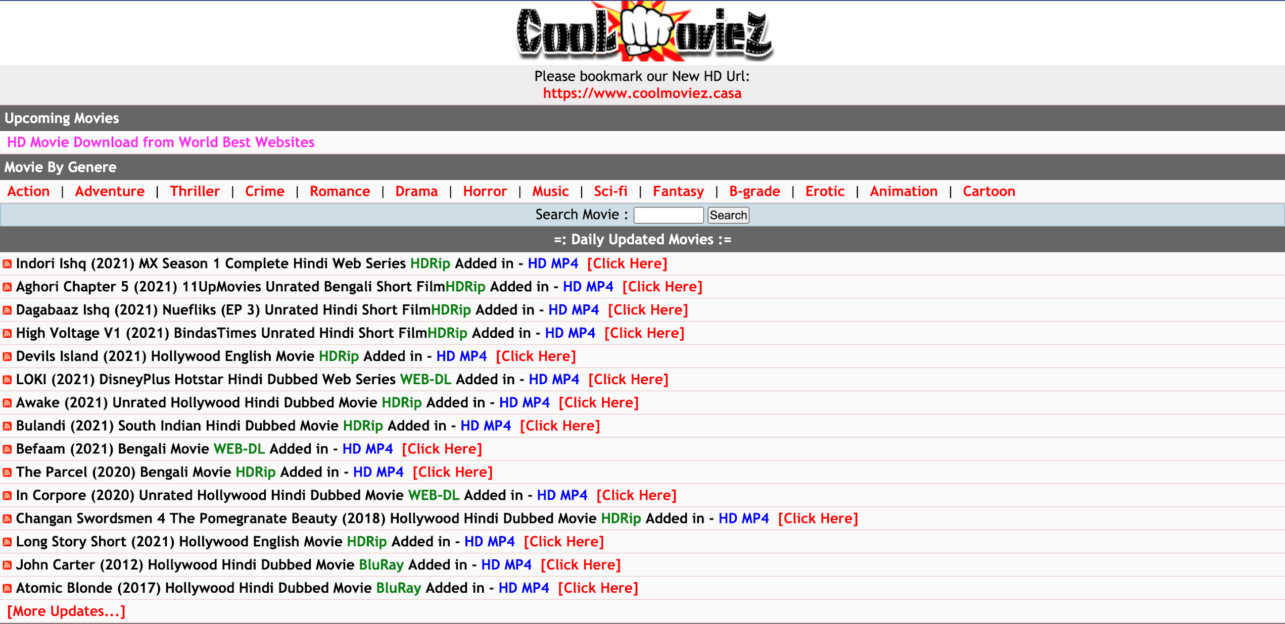 Coolmoviez Website 2021