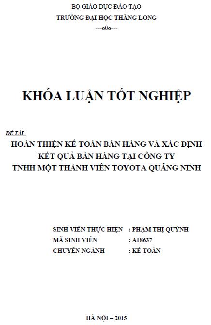 Hoàn thiện kế toán bán hàng và xác định kết quả bán hàng tại Công ty TNHH một thành viên TOYOTA Quảng Ninh