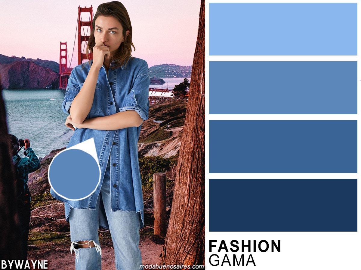 Variantes de azul denim un clásico entre los colores de moda de la primavera verano 2020.