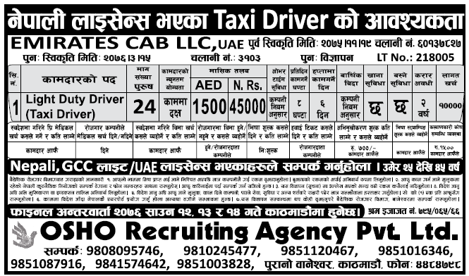 Jobs in UAE for Nepali, Salary Rs 45,000