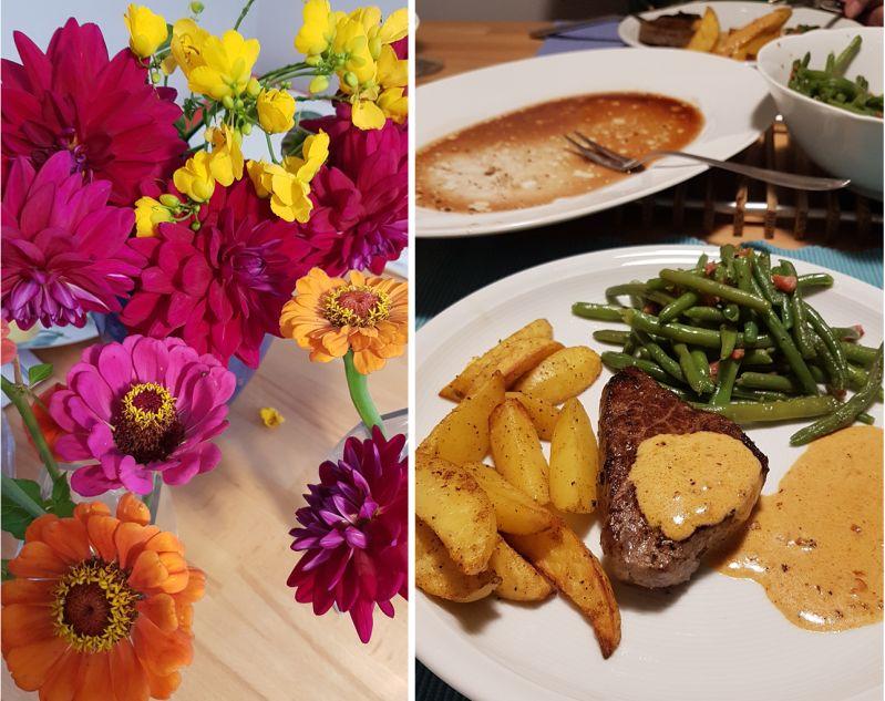Steak mit Wedges und Speckbohnen zur feier des Tages