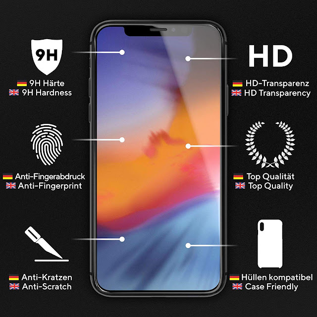 UTECTION 2X Full Screen Schutzglas 3D für iPhone X/XS - Perfekte Anbringung Dank Rahmen - Premium Displayschutz 9H Glas - Kompletter Schutz Vorne - Folie Schutzfolie Schutzglasfolie Ultra Clear Preis