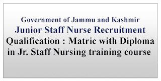 Jammu Kashmir Staff Nurse Jobs May 2021