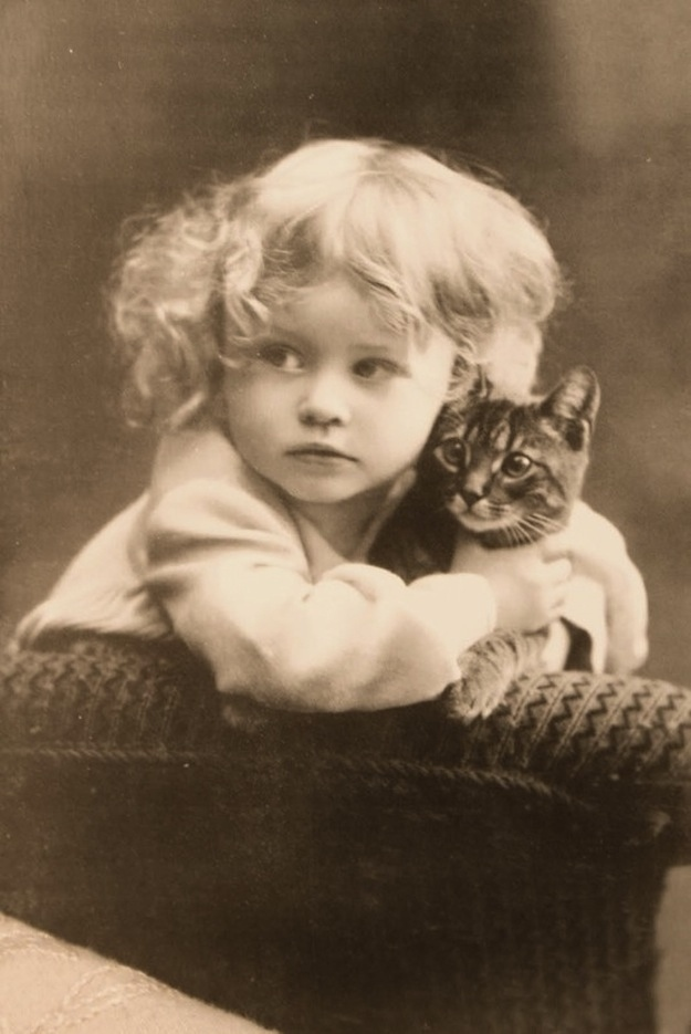 Vintage Everyday Photographs Of Girls With Their Cats