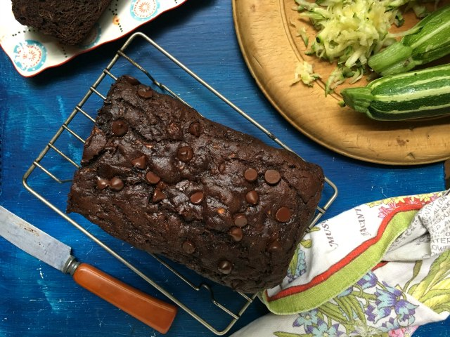This chocolate zucchini bread could pass for chocolate cake, it's that moist and extra chocolaty. It isn't too sweet and has a full cup and a half of zucchini.