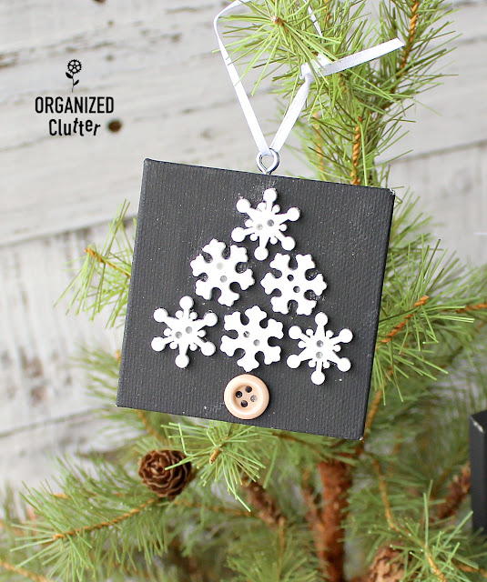 Snowflake Button & Mini Canvas Christmas Tree Ornaments #semihomemadeornaments #buttons #snowflakes #crafting #DIYChristmas #ornaments