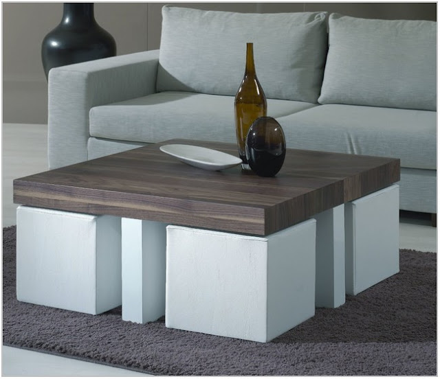 coffee table with chairs under