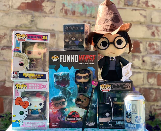 A selection of Funko products including Harry Potter, Harley Quinn, Hello, Kitty, Batman and Jurassic Park