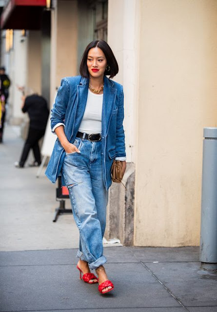 outfit blazer e jeans come abbinare blazer e jeans how to wear blazer and denim tendenza jeans e blazer idee outfit jeans blazer mariafelicia magno fashion blogger colorblock by felym