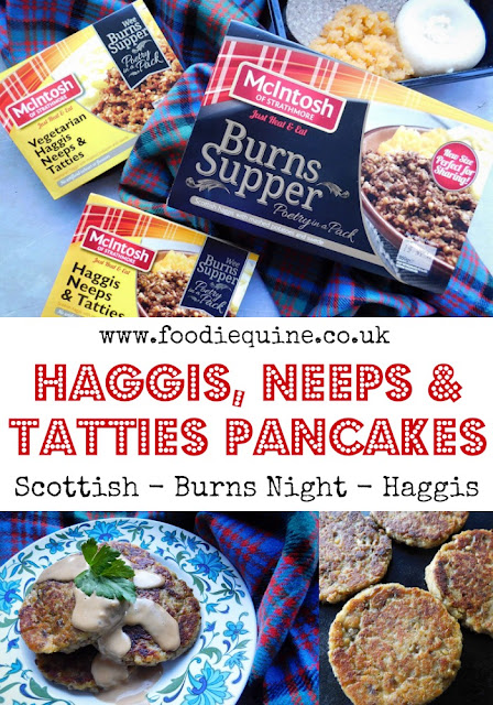 www.foodiequine.co.uk A delicious Scottish breakfast treat these Haggis, Neeps and Tatties Pancakes are the ideal way to kick off your Burns Supper celebrations. But they are far too good to save just for breakfast or just for Burns Night. Haggis is for life - not just the 25th of January.