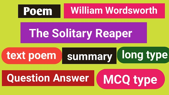 The Solitary Reaper Poem Question Answer And Summary with MCQ Test paper