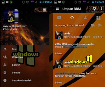 BBM Mod Windows 11 Orange Magnetic v3.0.1.25 Apk