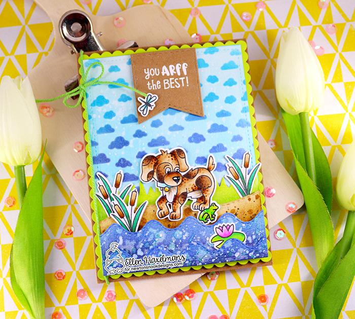#newtonsnook #newtonsnookdesigns #handmadecard #cardmaking #stamping #hellocard #friendshipcard #landbordersdieset #nnd #card #cardmaking #handmade #stampset #dieset #paperart #hobby #drawing #gnomecard #copicmarkers #copicciao #copiccoloring #PuppyFriendsstampset #PetiteCloudsstencil #Oxideinks #aprilrelease #papierkunst #dutchcardmaker #thermoweb #glitzglittergel