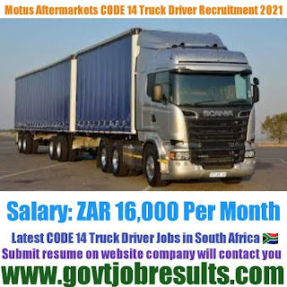Motus Aftermarkets Parts CODE 10 to 14 Driver Recruitment 2021-22