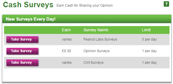 Cash surveys on Inbox pounds