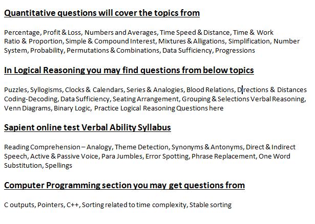 Sapient Placement Papers - Sapient Online Test Questions