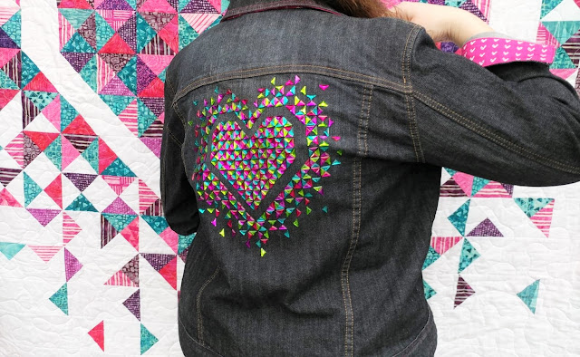 The Exploding Heart quilt made with Sharpie colored rhinestones onto a denim jacket