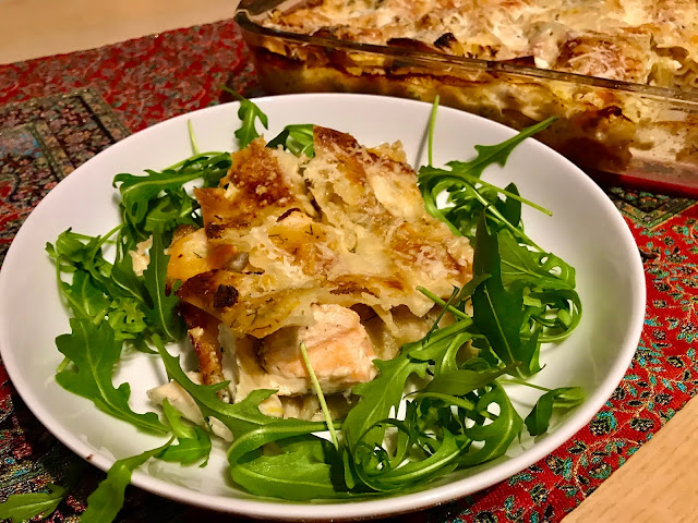 Seafood lasagne with salmon, sea bass and prawns