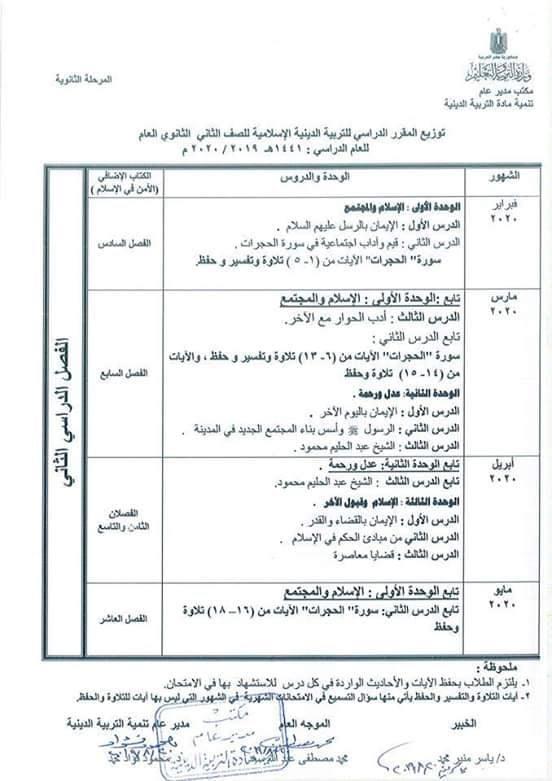 توزيع مناهج التربية الدينية الاسلامية لكل الصفوف و المراحل (ابتدائي - اعدادي - ثانوي) للعام الدراسي 2019 / 2020 10