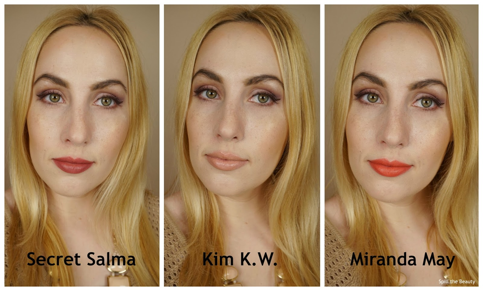 charlotte tilbury hot lips lipstick secret salma kim k.w. miranda may review swatches look arm swatches