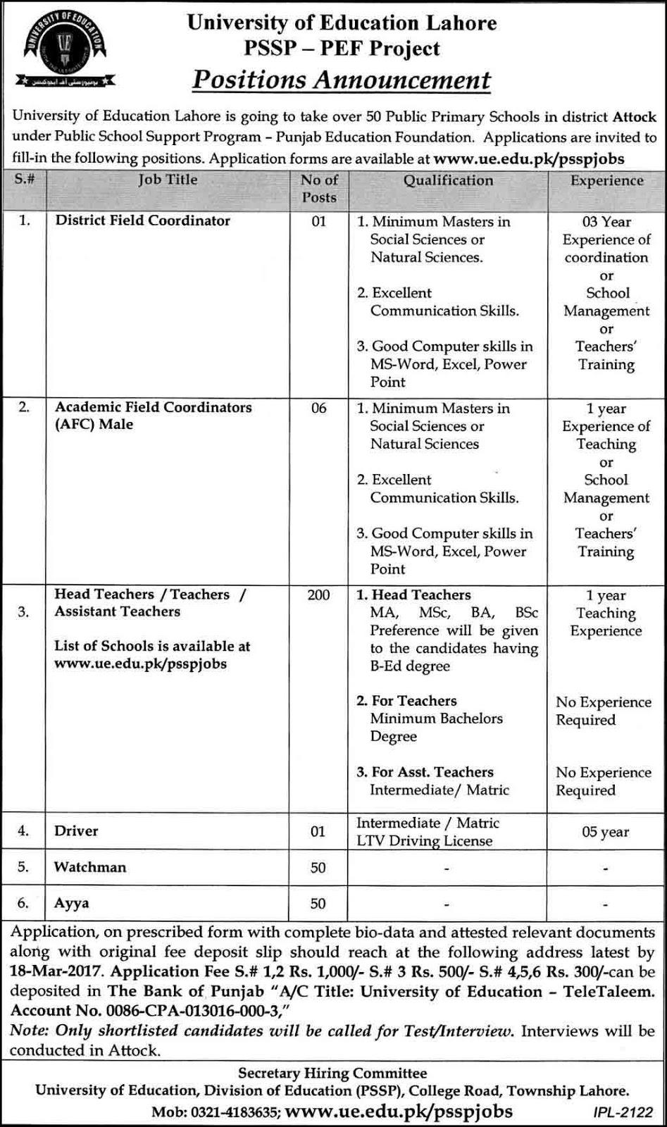 Jobs in University of Education Lahore Latest