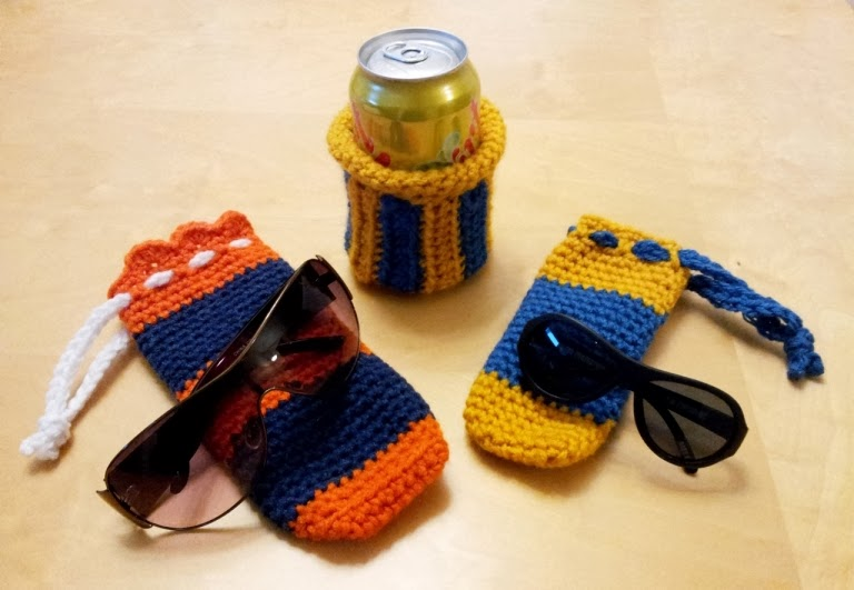 Crochet soda cozy and crochet sunglassses case