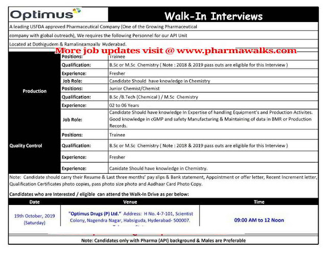 Optimus Drugs - Walk-in interview for Freshers and Experienced - Production / Quality Control / Operators on 19th October, 2019