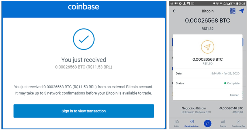 Prova de Pagando Pela Coinbase
