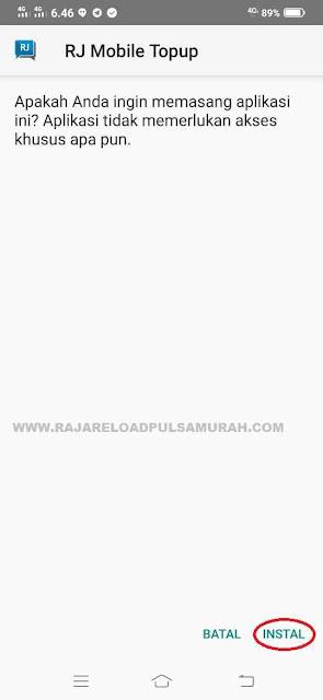 Instal Apk RJ Mobile Topup Raja Reload Pulsa