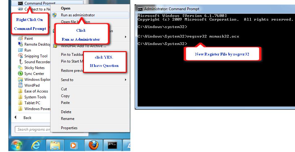 พีเอ็ม คอม: วิธีการลงทะเบียนไฟล์ OCX บน Windows 7