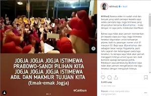 Kill the DJ Geram, Lagu 'Jogja Istimewa' dipakai untuk kampanye oleh tim Prabowo