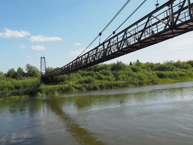 Подвесной вантовый пешеходный мост через Иню - о.п. Репьево